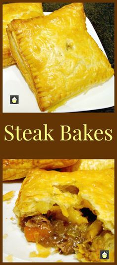 Steak Bakes (like Savory hand pies! Delicious mini puff pastry pies using leftover fillings from your pot roasts, casseroles and roast dinners! Really easy to make and great for lunches or as part of a dinner. Freezer friendly too! Meat Recipes, Cooking Recipes, Mini Pie Recipes, Dinner Recipes, Recipies, Little Lunch, Puff Pastry Recipes, Puff Pastries, Roast Dinner