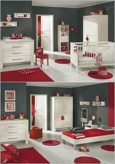 Inspiration of decor in bright red, gray and white! ~ Home Decor / Bedroom Decor Source by chadandjudy Home Decor Bedroom, Kids Bedroom, White Interior Design, Inside Design, Boy Room, Sweet Home, House Design, Furniture, Bright Decor
