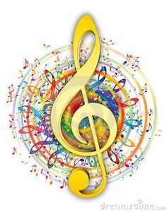 Colorful music elements in color circle with soft yellow/gold music key in center.