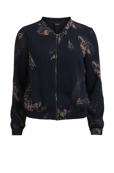 Vila Vileafa Bomber Jacket In Navy With Feather Pink Print available at atticwomenswear.com