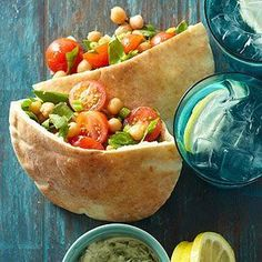 Garbanzo Bean-Veggie Pitas with Creamy Avocado Dressing Dry garbanzo beans are one of the cheapest sources of protein. Prepare more than you need when you cook this recipe and use them in multiple meals. (use soy yogurt to veganize)