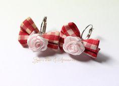 Rose fabric bow earrings by JigulinsHA on Etsy, $9.95