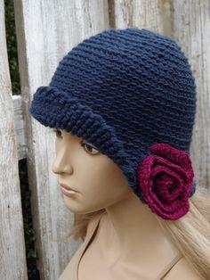 Crochet hat Womens trendy hat Navy blue Rose Handmade by Degra2
