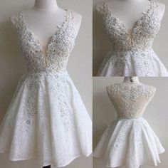 2016 popular white lace see through gorgeous freshman cute homecoming prom gowns dress,BD0069 Ivory Dress Short, Ivory Prom Dresses, Cute Homecoming Dresses, V Neck Prom Dresses, Prom Dresses 2018, Dresses Short, Prom Party Dresses, Prom Gowns, Dress Prom