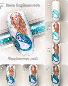 What Christmas manicure to choose for a festive mood - My Nails Nail Art Hacks, Nail Art Diy, Nail Art Designs Videos, Nail Designs, Mickey Nails, Flamingo Nails, Sea Nails, Nail Drawing, Mermaid Nails