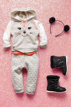 Toddler girls' fashion | Kids' clothes | Cat zip-up hoodie | Quilted joggers | Snow boots | Headband | The Children's Place