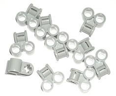 LEGO 10 Light Bluish Gray Technic Axle Pin Connectors Perpendicular Double 42039 #LEGO