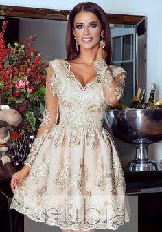 3fa335843c Iness - Sukienka koronkowa Złota Nowoczesna i modna odzież damska INUBIA.PL  Suknia Na Studniówkę
