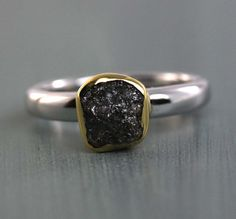 Natural Raw and Rough Black Diamond Ring