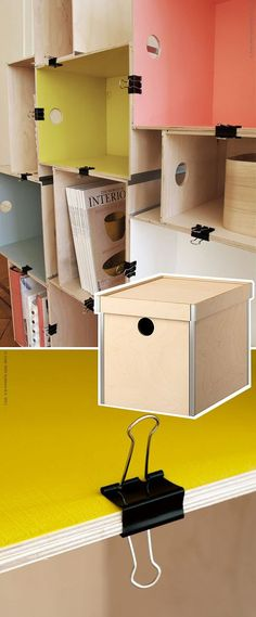 a bookcase made ​​of IKEA's boxes and binder clips