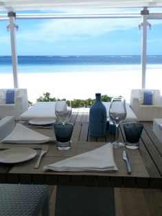 Beach Rouge at Lux Belle Mare, Mauritius, enjoyed many breakfasts here on our honeymoon
