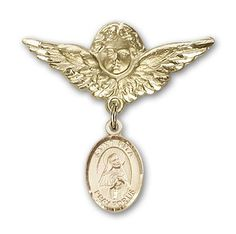 14K Gold Baby Badge with St. Rita of Cascia Charm and Angel with Wings Badge Pin | Your #1 Source for Jewelry and Accessories