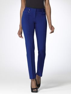 Ankle length ponte pant with front pintuck seaming. Front besom pockets. Silver D ring at waist. Back welt pockets. 29 1/2 inch inseam72% rayon, 23% nylon, 5% spandexImportDry clean only