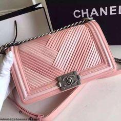 d02908c849b7 Chanel A67086 Boy Chanel Pleated Calfskin Medium Flap Bag Paris 2016 Chanel  Chain Bag