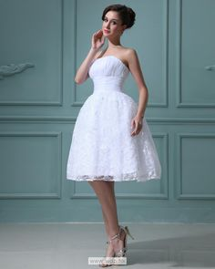 """Ruffles Strapless Short Mini Wedding Dress $139.99"""