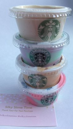 Starbuck Frappuccino Slime Sampler Starbucks inspired frappuccino slime set will contain all four items shown in the picture. This is a beautiful silky smooth, thick slime. Starbucks Frappuccino, Starbucks Slime, Frappuccino Recipe, Le Slime, Slimy Slime, Diy Crafts Slime, Slime Craft, Cara Membuat Slime, How To Make Slime