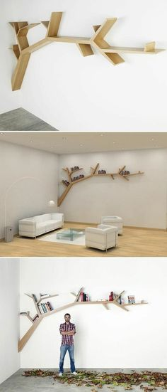 Creative Tree Bookshelf Designs Offering Natural Look : Exquisite Light Wood Tree Shaped Bookshelf Design Inspiration in White Themed Living Room with White Leather Sofa Tree Bookshelf, Tree Shelf, Bookshelf Design, Bookshelf Ideas, Tree Wall, Modern Bookshelf, Shelving Ideas, Shelving Systems, Tree Book Shelves