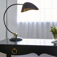 Casting illumination with contemporary panache, Bungalow Shilo table lamp offers task lighting with smooth style. This Art Deco-inspired accent showcases a curved design and concave metal W x D x HBrass and Desk Lamp, Table Lamp, Bungalow 5, Modern Loft, Task Lighting, Home Accessories, Art Deco, Traditional, Contemporary
