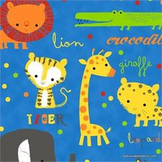 """It's a Jungle Out There Main on blue by Hoffman Fabrics  Large jungle animals on navy blue background  2"""" - 6"""" large animals. Giraffes, crocodile, hippo, tiger, lion, leopard"""