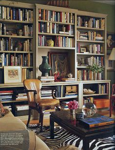 Bohemian Style Living Room Library Design with Zebra Rug Decor . Library Room, Dream Library, Cozy Library, Muebles Living, Bamboo Furniture, Bamboo Chairs, Red Chairs, Modern Furniture, Furniture Design