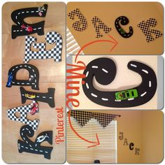 Making these Race car checkered flag letters for my boys room Car Bedroom, Kids Bedroom, Racing Bedroom, Bedroom Ideas, Car Themes, Room Themes, Race Car Room, Race Car Nursery, Baby Boy Rooms
