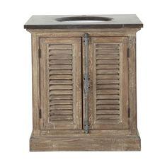 Badezimmermöbel mit einem Waschbecken aus Recyclingholz und Marmor anthrazit B 80cm - Persiennes