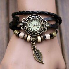 Fashion Women's Bracelet Watches Vintage Weave Wrap Quartz Leather Leaf Beads Wrist Watches