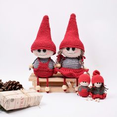 The teasing elves Siv and Nælde are so ready for Christmas cheer - Are you? Siv and Nælde are a larger version of the popular cheeky elves, and are crocheted in Ribbon. Crochet Christmas Gifts, Christmas Knitting Patterns, Holiday Crochet, Christmas Crafts, Crotchet Patterns, Crochet Patterns Amigurumi, Amigurumi Doll, Crochet Toys, Christmas Tree Trimming
