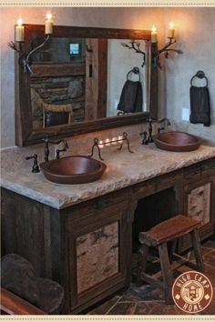 Don't really like the log cabin look, but really like the idea of putting a chair to combine the sink with a vanity!