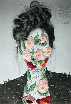 Arte Gcse, Gcse Art, Jose Romussi, Cross Stitch Art, Art Themes, Textile Artists, Art Sketchbook, Embroidery Art, Fashion Collage