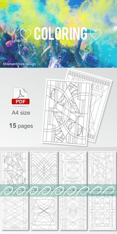 #ShShPrintables Geometric coloring book for grown ups | Printable coloring pages for adults, abstract geometric coloring pages on Etsy