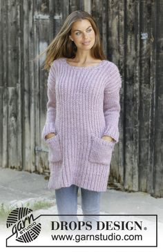 Lilly Blush - Knitted jumper in DROPS Eskimo with false English rib. Size: S - XXXL- Free knitted pattern DROPS 194-23