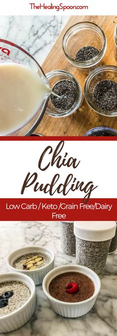 Easy chia pudding recipe. Great for #mealprep , lots of flavor variations, #lowcarb #keto