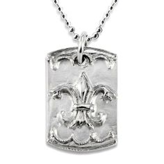 Antiqued Stainless Steel Fleur De Lis Dog Tag on a 24 Inch Ball Chain West Coast Jewelry. $5.95