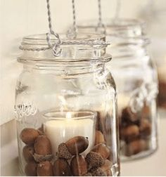 Got acorns? I've been consumed with what I can do to decorate for fall, yet stay on a budget. These acorn crafts will help me do just that! decoration mason jars 10 Awesome Acorn Crafts - Fall Decorating on a Budget Decoracion Low Cost, Acorn Crafts, Crafts With Acorns, Vase Fillers, Fall Diy, Votive Candles, Beeswax Candles, Vanilla Candles, Ideas Candles