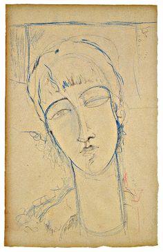 poboh:  Anna Akhmatova (Ritratto di Donna Rossa), 1915, Amedeo Modigliani.  (1884 - 1920) - Pen and Ink -