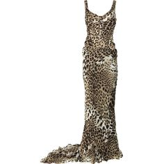 Roberto Cavalli Silk-chiffon leopard-print gown ($3,885) ❤ liked on Polyvore
