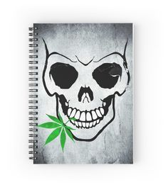 #Skull with #Weed #notebook -  Cool Skull with Pot #giftidea