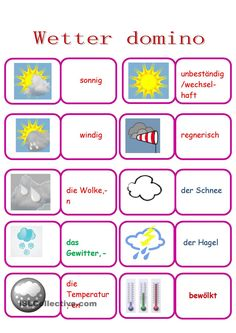 Wetterwoerterdomino Learn German, Learn English, German Language Learning, Teaching Materials, Kids Learning, Worksheets, Kindergarten, Memories, Rose