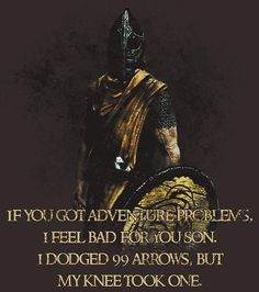 Only funny if you play Skyrim and understand the arrow joke.