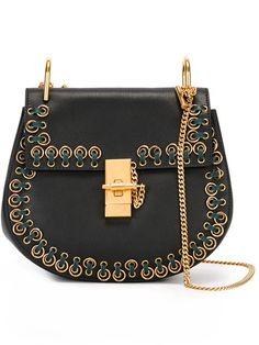 CHLOÉ stitched 'Drew' shoulder bag. #chloé #bags #shoulder bags #suede #