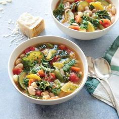 Summer Minestrone Soup | MyRecipes.com A gentle simmer keeps the vegetables in the soup slightly firm, so they maintain their texture during freezing and reheating.