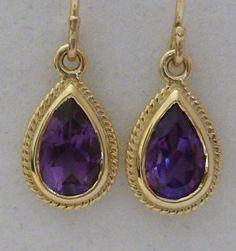 Vintage Amethyst Earrings, Antique Gold 9ct 9k 10k Drop, Ladies french drop wire, Womens, Victorian, Solid earrings E7
