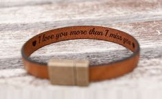 This cute unisex leather bracelet with personalized Hidden Secret Message is a perfect boyfriend or girlfriend gift idea! Genuine leather, authentic look, easy to wear, super special personal touch - nothing can bit this gift idea! Handmade leather bracelet (10mm) with a strong hypoallergenic magnetic clasps. Made with high quality European genuine leather. Very comfortable & easy to put on and take off and it stays on securely even when you are active! ❤ Shipping time to USA/Canada 7-10…