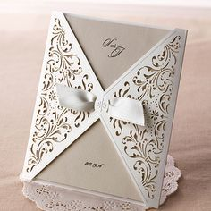 100Sets Laser Cutting Wedding Invitations Cards+Envelopes Silk Printing/TU051 #TUcard