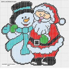 SANTA AND SNOWMAN by DAISY*STITCHEMS -- WALL HANGING 2/2