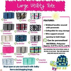 Large Utility Tote Thirty One   Facebook Group: https://www.facebook.com/groups/treasuresfromdj/     Want to have a Party? Contact me!      Shop at: http://www.trendybags.net