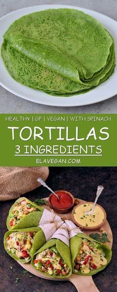 Homemade green spinach tortillas with 3 ingredients. The recipe is healthy gluten-free vegan wheat-free corn-free great for kids and easy to make. Perfect for wraps tacos burritos enchiladas quesadillas. Mexican Food Recipes, Whole Food Recipes, Diet Recipes, Vegetarian Recipes, Cooking Recipes, Cooking Games, Indian Recipes, Easy Recipes, Apple Recipes