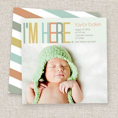 modern baby girl birth announcements - Google Search