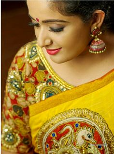 Find Kavya Madhavan's celebrity style wears on our online shopping website Laksyah and get it as yours. Blue Silk Saree, Yellow Saree, Yellow Dress, Blouse Patterns, Blouse Designs, Kavya Madhavan Saree, Kalamkari Saree, Kalamkari Blouses, Saree Draping Styles